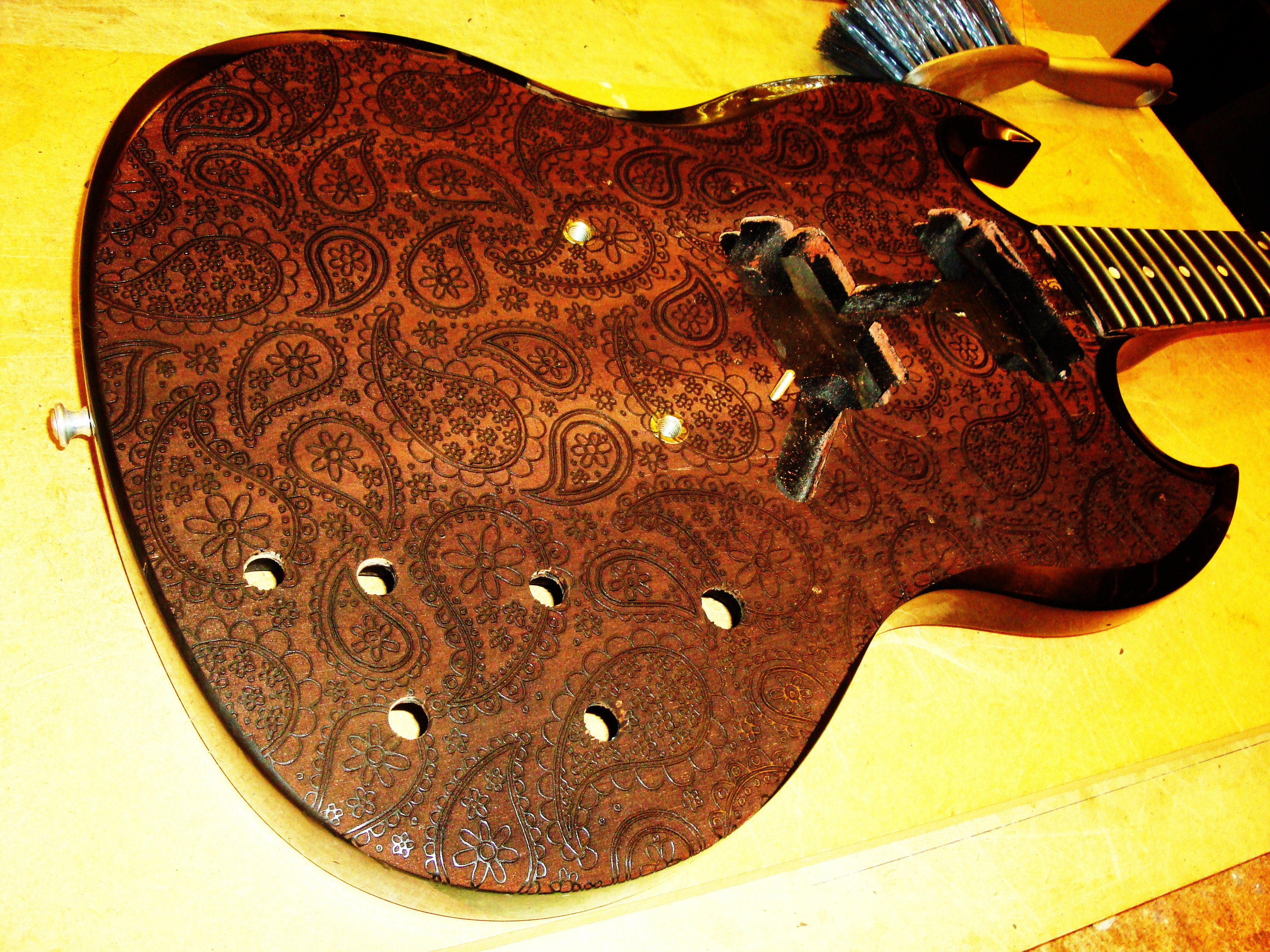 Engraved SG guitar with Paisley pattern April 2010