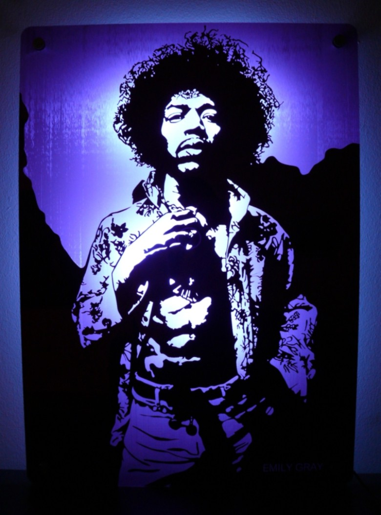 Jimi in Purple mirror , etched and lit by LEDs
