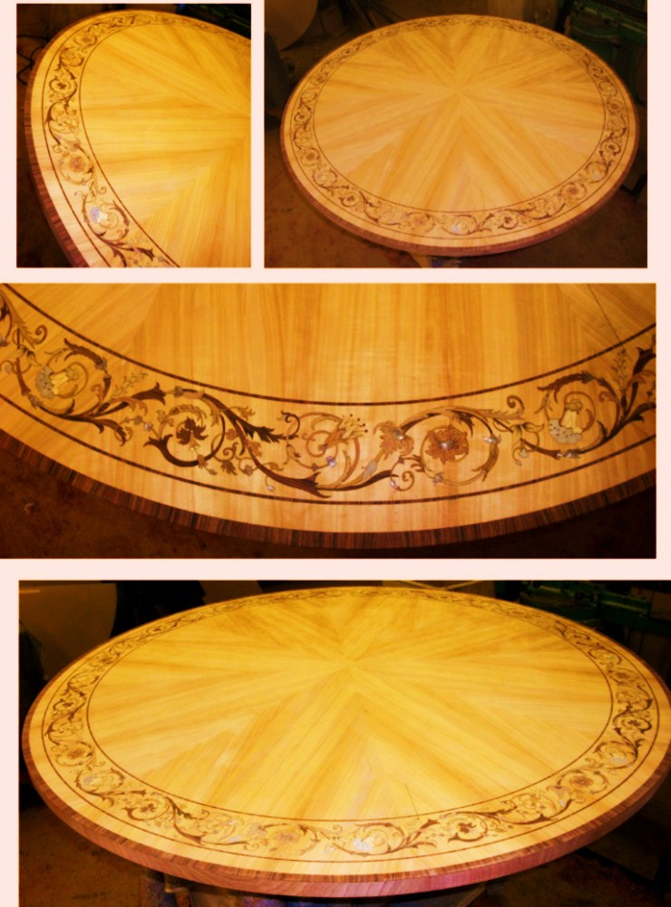 Replica Table in mother of pearl and veneers for Lex Wolff