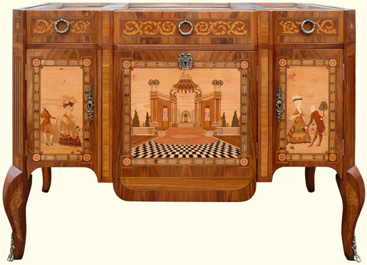 Replica piece of marquetry furniture drawn up from photographs of the original